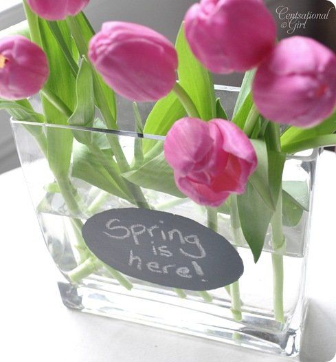 cg pink tulips chalkboard vase