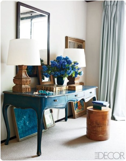peacock blue desk elle decor